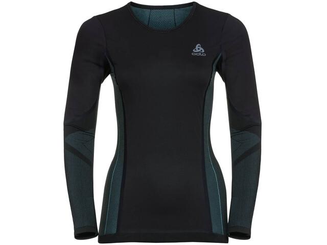 Odlo Suw Performance Windshield T-shirt manches longues à col ras-du-cou Femme, black-blue radiance